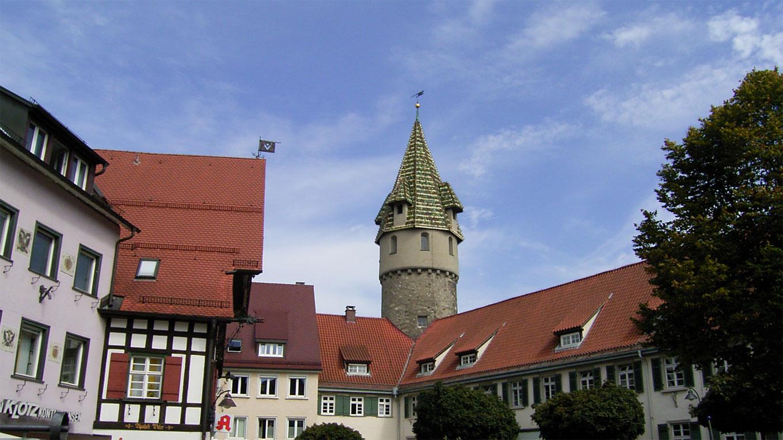 Ravensburg: Der Holzmarkt mit dem Grünen Turm