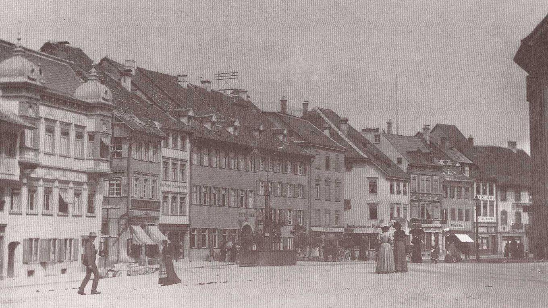 Der Ravensburger Marienplatz um 1910