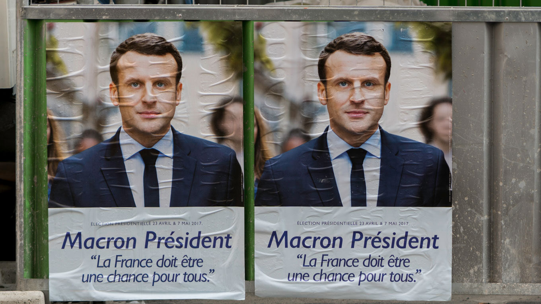 Wahlplakat Emmanuel Macrons zu den Präsidentschaftswahlen 2017